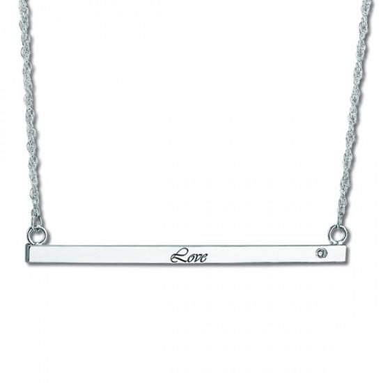 Women's Personalized Thin Bar Necklace w/ Diamond 14k W. Gold (0.05ct)