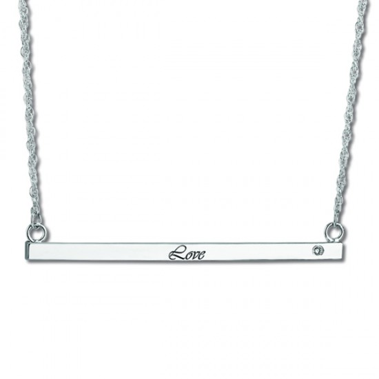 Women's Personalized Bar Necklace w/ Diamond Sterling Silver (0.05ct)