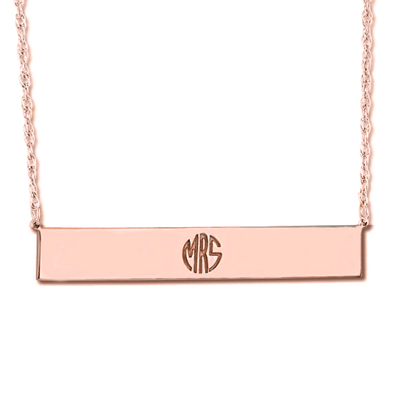 Customizable Monogram Bar Pendant Necklace in 14k Rose Gold