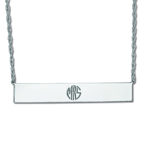 Customizable Monogram Bar Pendant Necklace in 14k White Gold