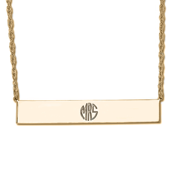 Customizable Monogram Bar Pendant Necklace in 14k Yellow Gold