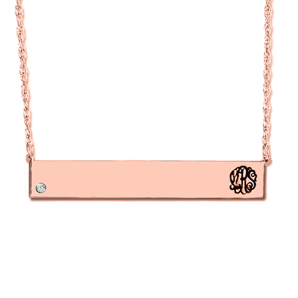 Customizable Monogram Bar Pendant w/ Diamond in 14k Rose Gold 0.05ct
