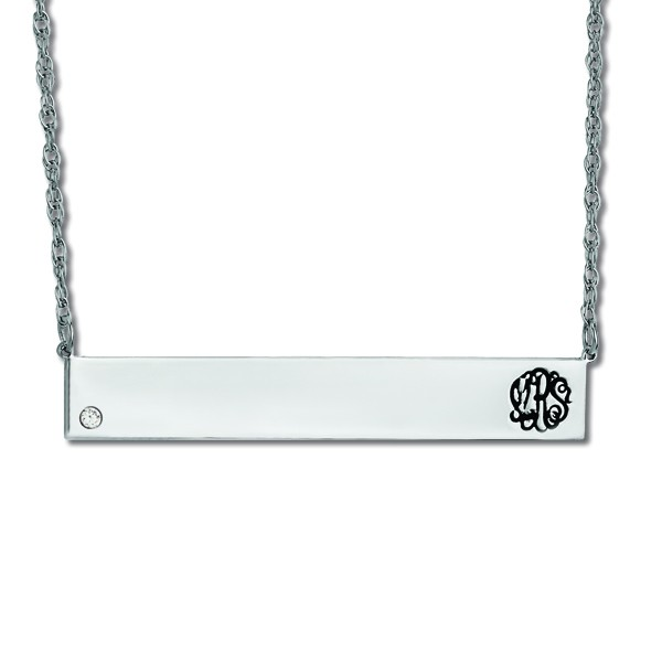 Customizable Monogram Bar Pendant w/ Diamond in Sterling Silver 0.05ct