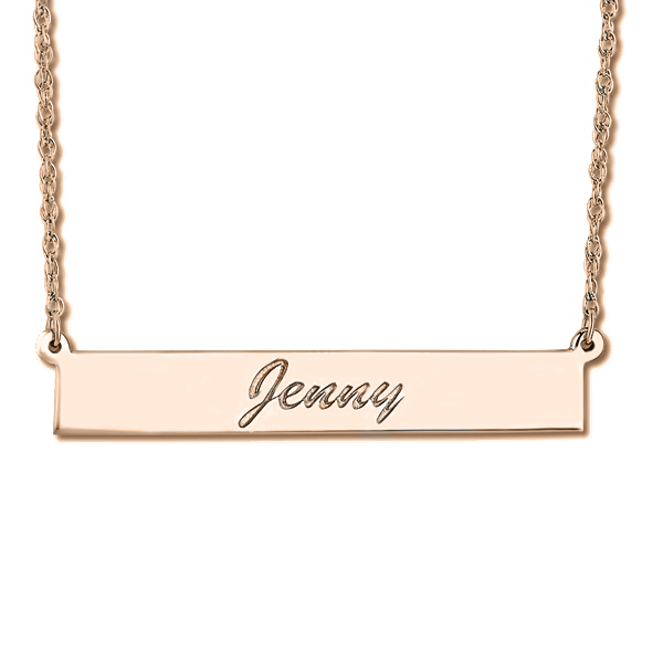 Women's Personalized Engraved Name Necklace Bar Pendant 14k Rose Gold
