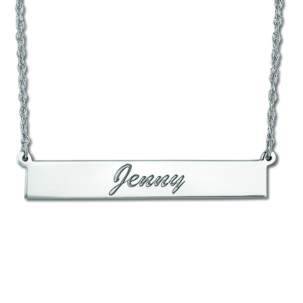 Women's Personalized Engraved Name Necklace Bar Pendant 14k White Gold