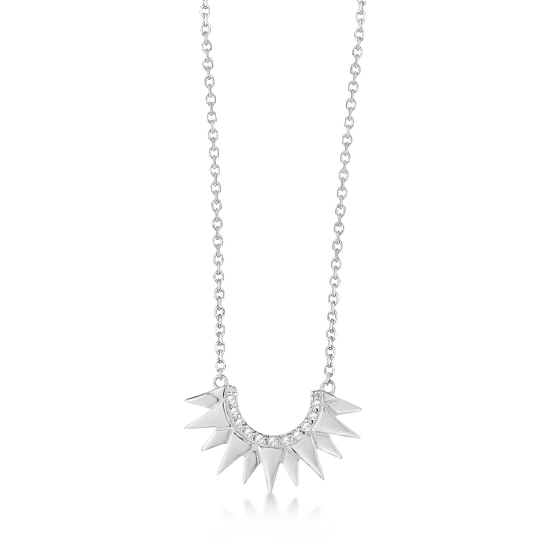 Diamond Sunburst Shaped Pendant Necklace 14k White Gold (0.06ct)