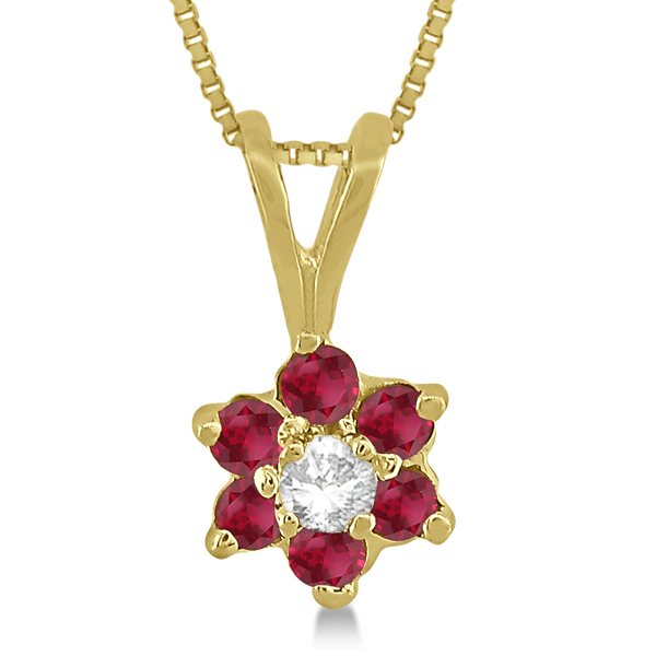 Diamond and Ruby Cluster Pendant 14k Yellow Gold (0.29ct)