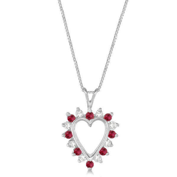 Ruby and White Diamond Heart-Shaped Pendant 14k White Gold (0.55ct)