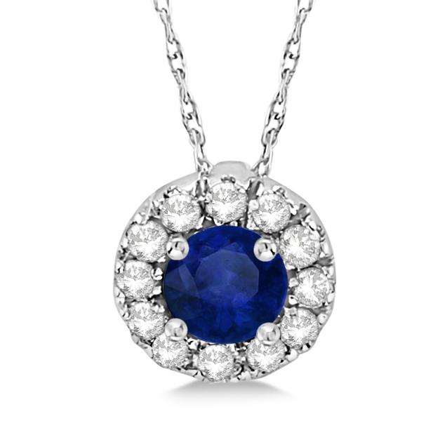 Round Halo Diamond and Blue Sapphire Pendant 14k White Gold (0.48ct)