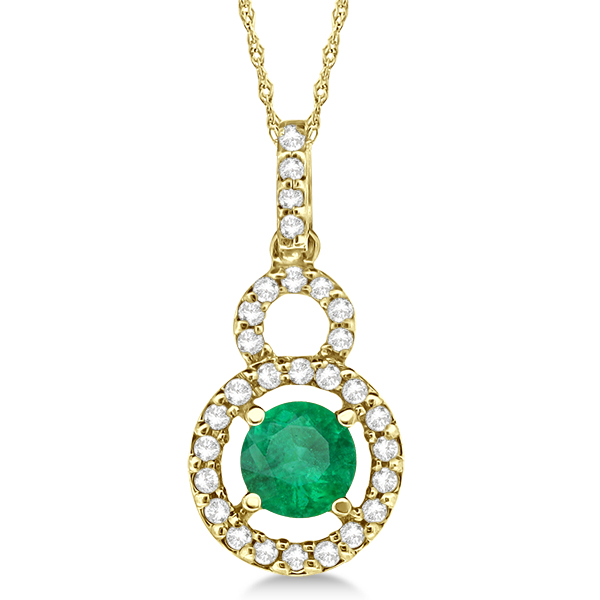 Dangle Drop Diamond and Emerald Pendant 14k Yellow Gold (0.65ct)