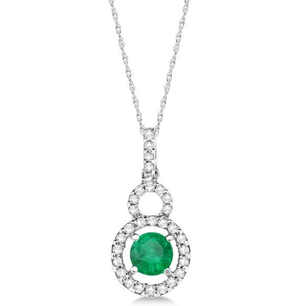 Dangle Drop Diamond and Emerald Pendant 14k White Gold (0.65ct)