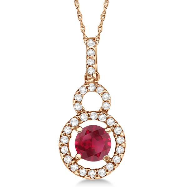 Dangle Drop Diamond and Ruby Pendant 14k Rose Gold (0.63ct)
