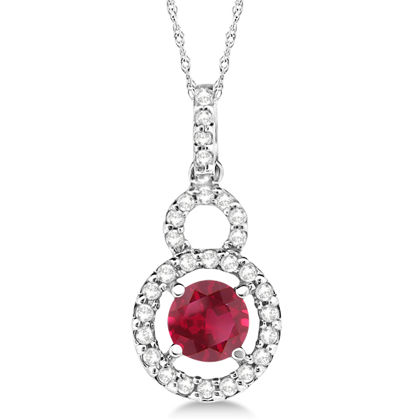 Dangle Drop Diamond and Ruby Pendant 14k White Gold (0.63ct)