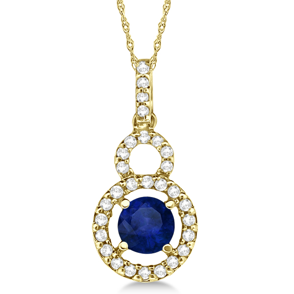 Dangle Drop Diamond and Blue Sapphire Pendant 14k Yellow Gold (0.90ct)