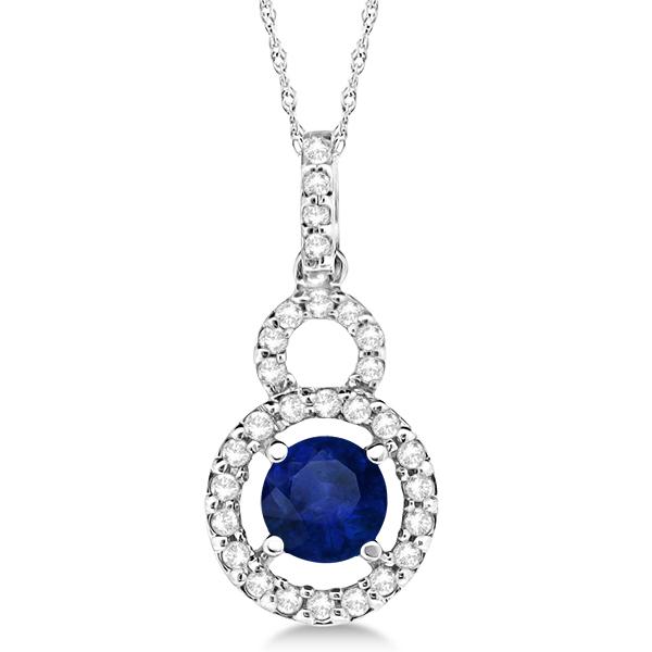 Dangle Drop Diamond and Blue Sapphire Pendant 14k White Gold (0.90ct)