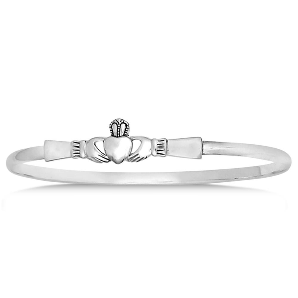 Claddagh Bangle Bracelet in Plain Metal Sterling Silver