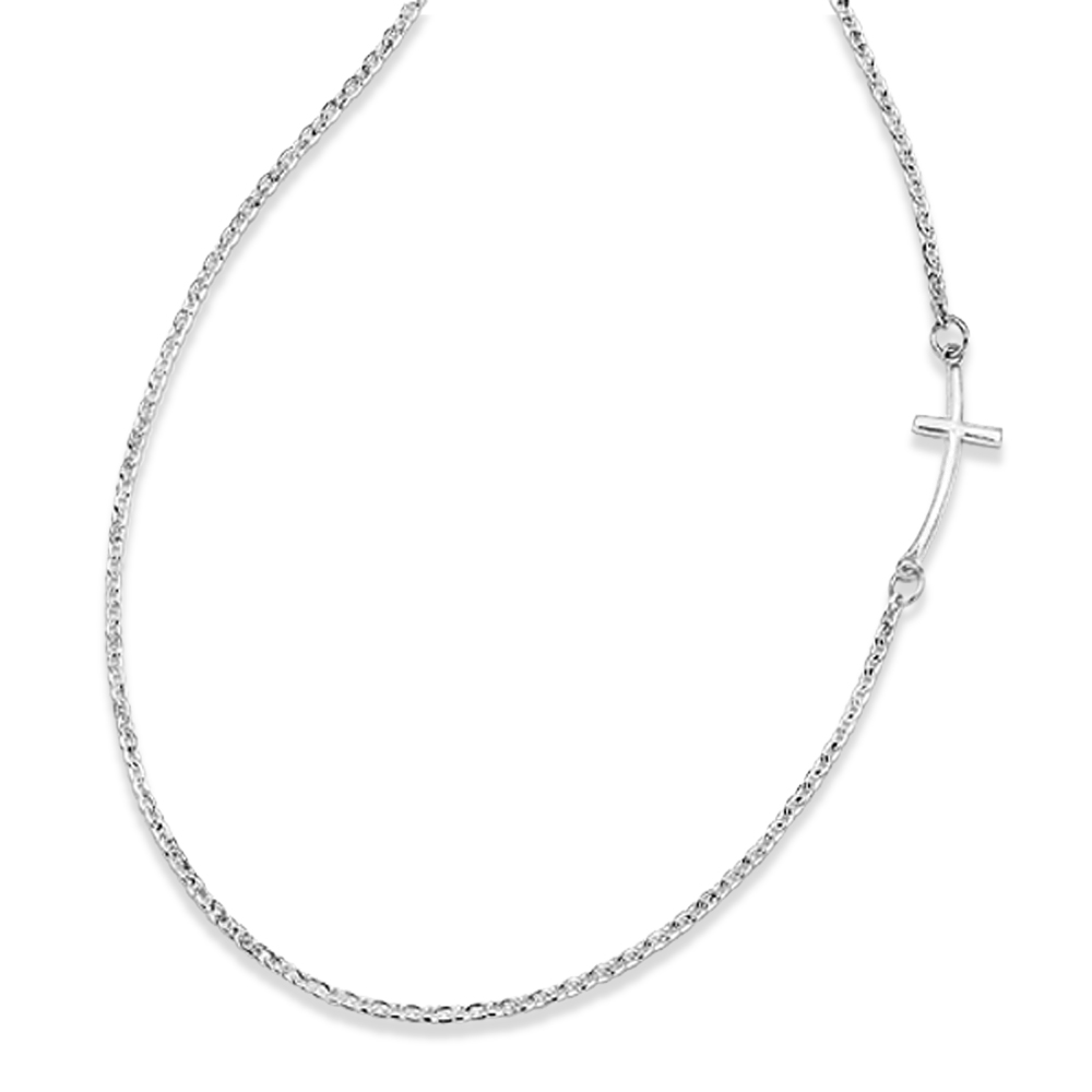 Sideways Curved Cross Pendant Necklace in Plain Metal Sterling Silver