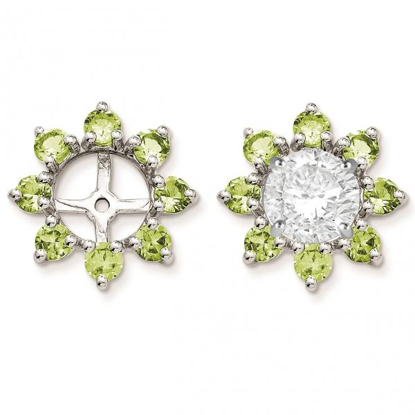 Peridot Flower Earring Jackets in Sterling Silver (1.11ct)