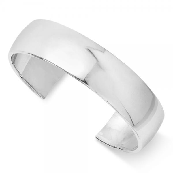 Polished Slip-On Bangle Bracelet in Plain Metal Sterling Silver