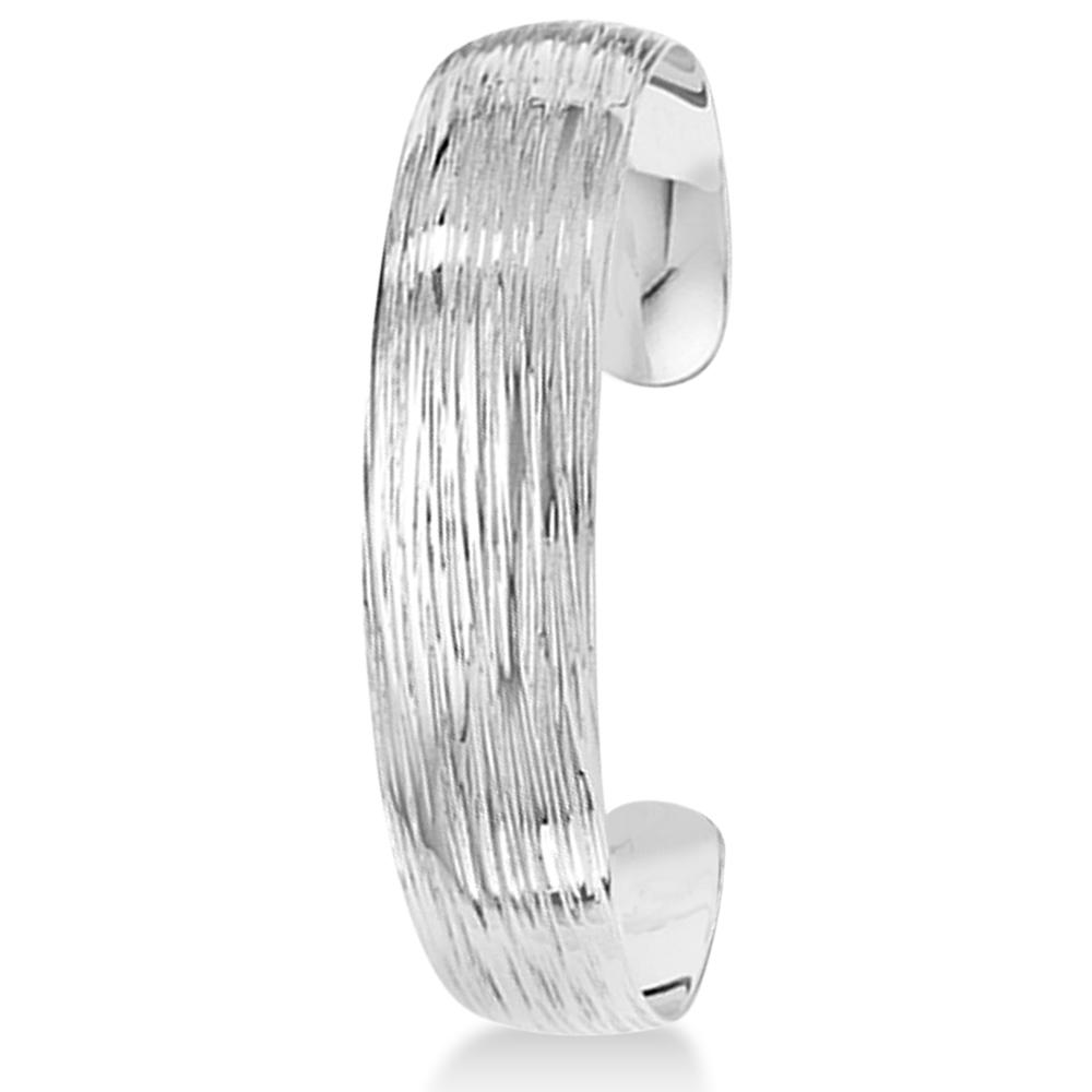 Textured Slip-On Bangle Bracelet in Plain Metal Sterling Silver