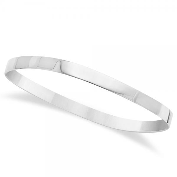 Square Slip-On Unique Bangle Bracelet in Plain Metal Sterling Silver