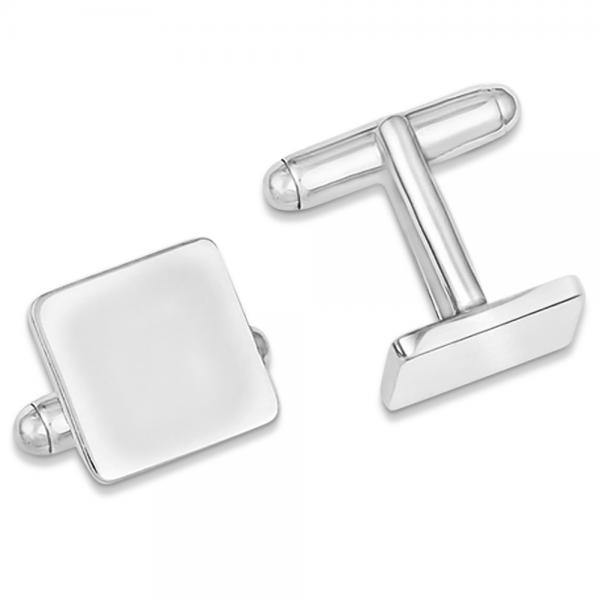 Square Shape Cuff Links in Plain Metal Sterling Silver