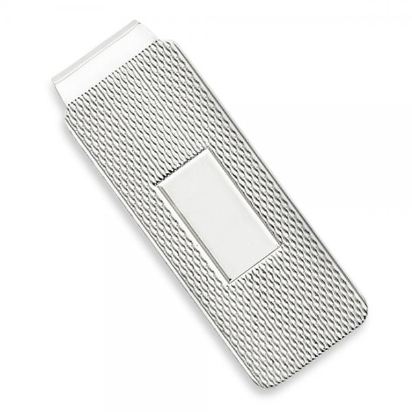 Engravable Rectangular Textured Money Clip in Plain Metal Sterling Silver