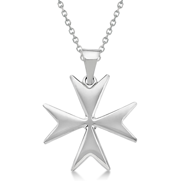 Maltese Cross Pendant for Men or Women Crafted from 14K White Gold