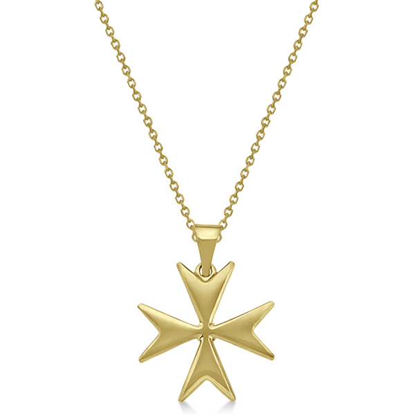 Maltese Cross Pendant for Men or Women Crafted from 14K Yellow Gold