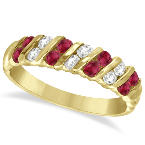 Ruby and Diamond Channel Band 14k Yellow Gold (0.80ctw)