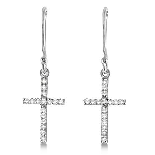 Dangle Christian Diamond Cross Earrings 14K White Gold (0.20ct)