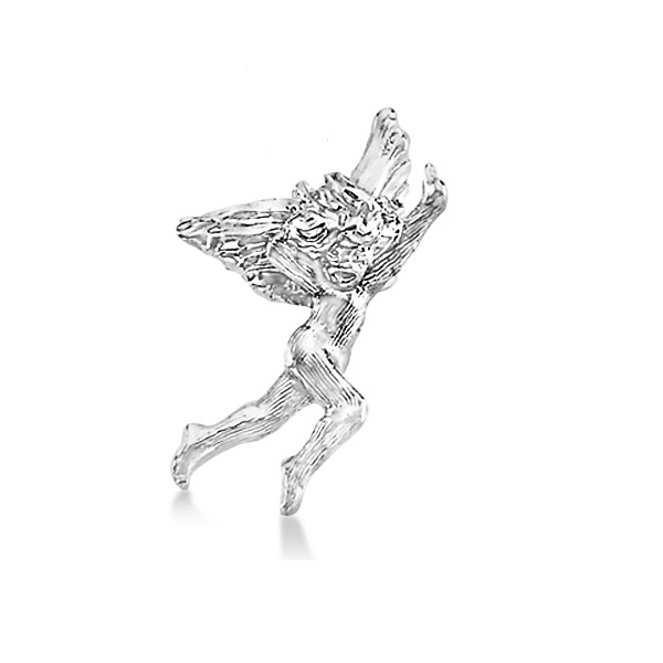Dancing Angel Lapel Brooch Pin in Plain Metal 14k White Gold