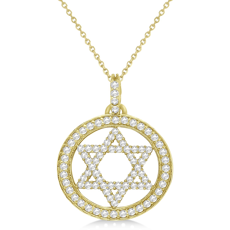 star david diamond circle pendant necklace 14k yellow gold. Black Bedroom Furniture Sets. Home Design Ideas