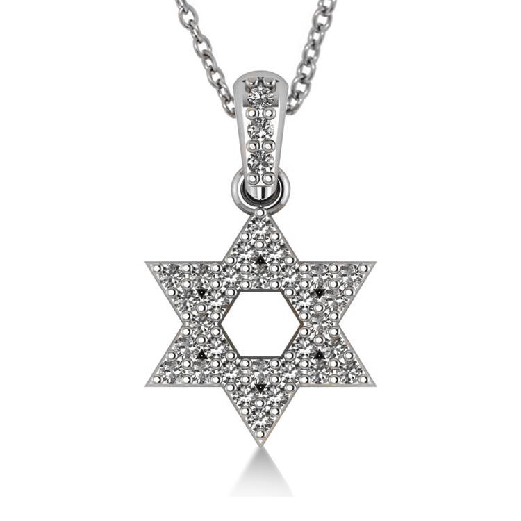Diamond Jewish Star of David Pendant Necklace 14k White Gold (0.33ct)