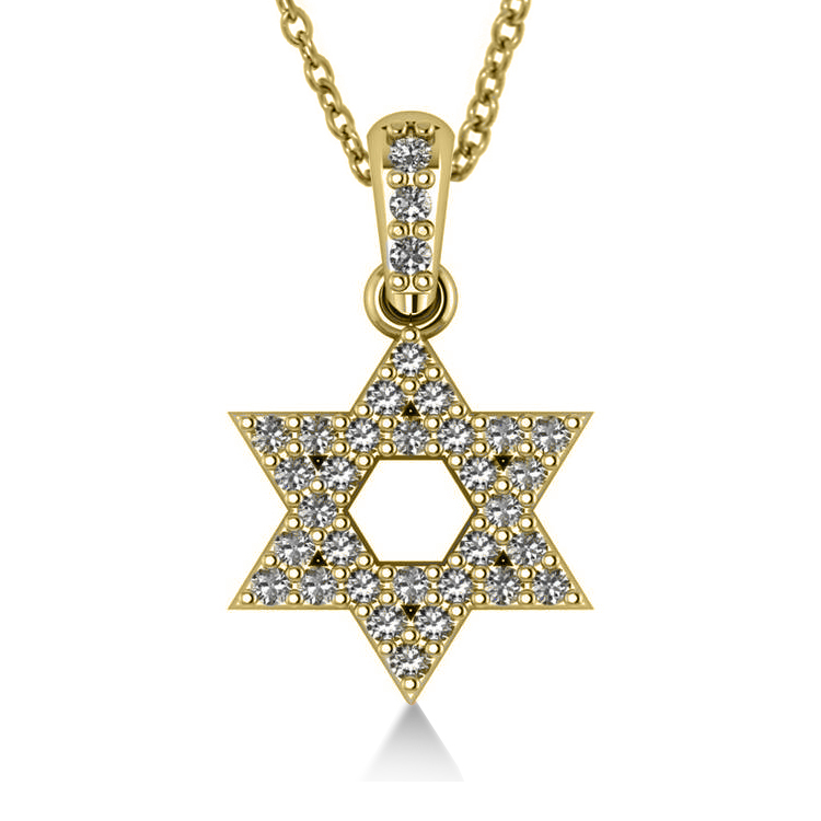 Diamond jewish star david pendant necklace 14k yellow gold 033ct diamond jewish star of david pendant necklace 14k yellow gold 033ct aloadofball Images