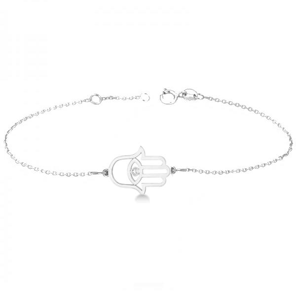 Hamsa Evil Eye Diamond Chain Bracelet 14k White Gold (0.02ct)