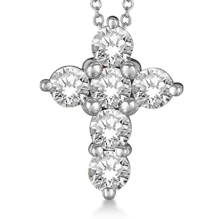 Prong Set Round Diamond Cross Pendant Necklace 14k White Gold (3.00ct)