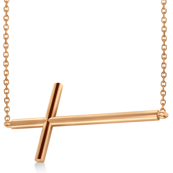 Religious Sideways Cross Necklace Plain Metal 14k Rose Gold
