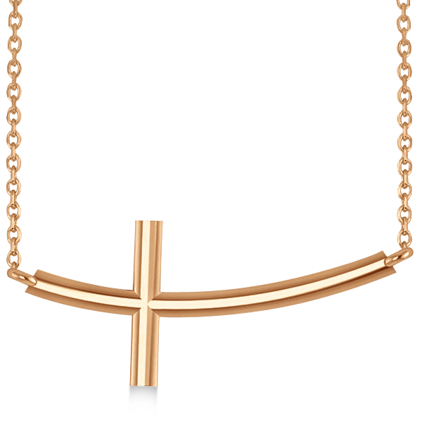 Religious Curved Sideways Cross Pendant Necklace 14k Rose Gold