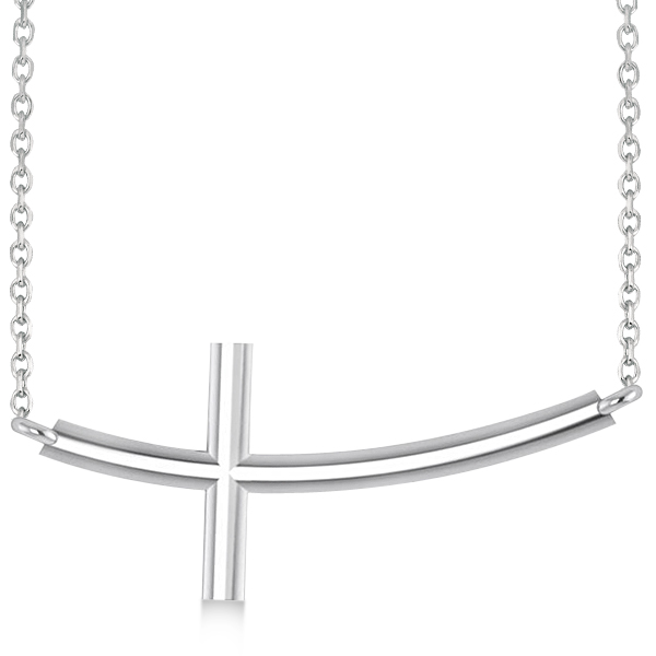 Religious Curved Sideways Cross Pendant Necklace 14k White Gold