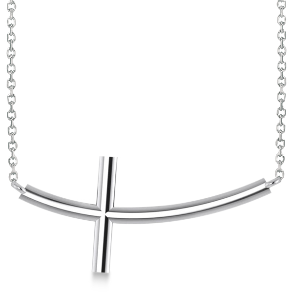 Religious Curved Sideways Cross Necklace Pendant 14k White Gold