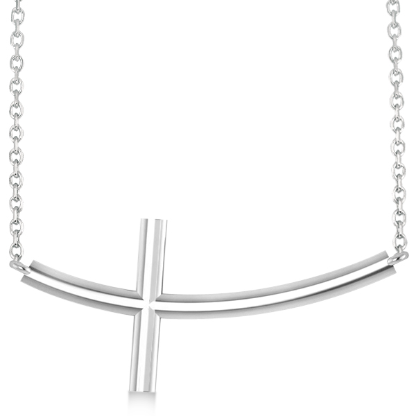 Curved Sideways Cross Necklace Religious Pendant 14k White Gold