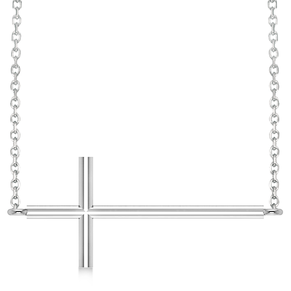 Sideways Cross Necklace Religious Pendant Plain Metal 14K White Gold