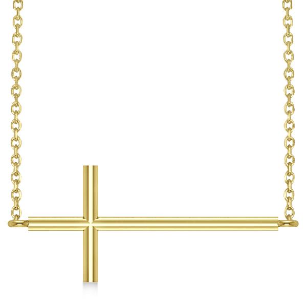 Sideways Cross Necklace Religious Pendant Plain Metal 14K Yellow Gold