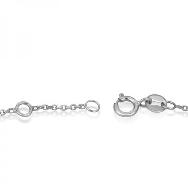 Sideways Cross Religious Ankle Bracelet Plain Metal 14k White Gold