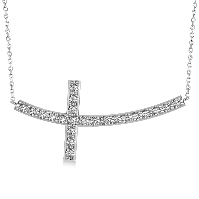 Diamond Sideways Curved Cross Pendant Necklace 14k White Gold 1.54ct