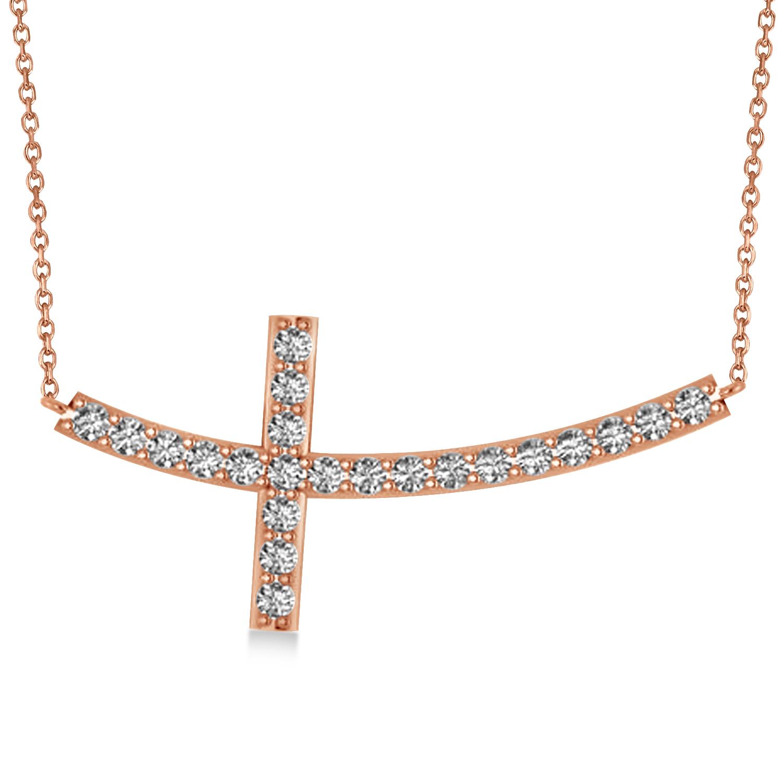 Diamond Sideways Curved Cross Pendant Necklace 14k Rose Gold 2.00ct