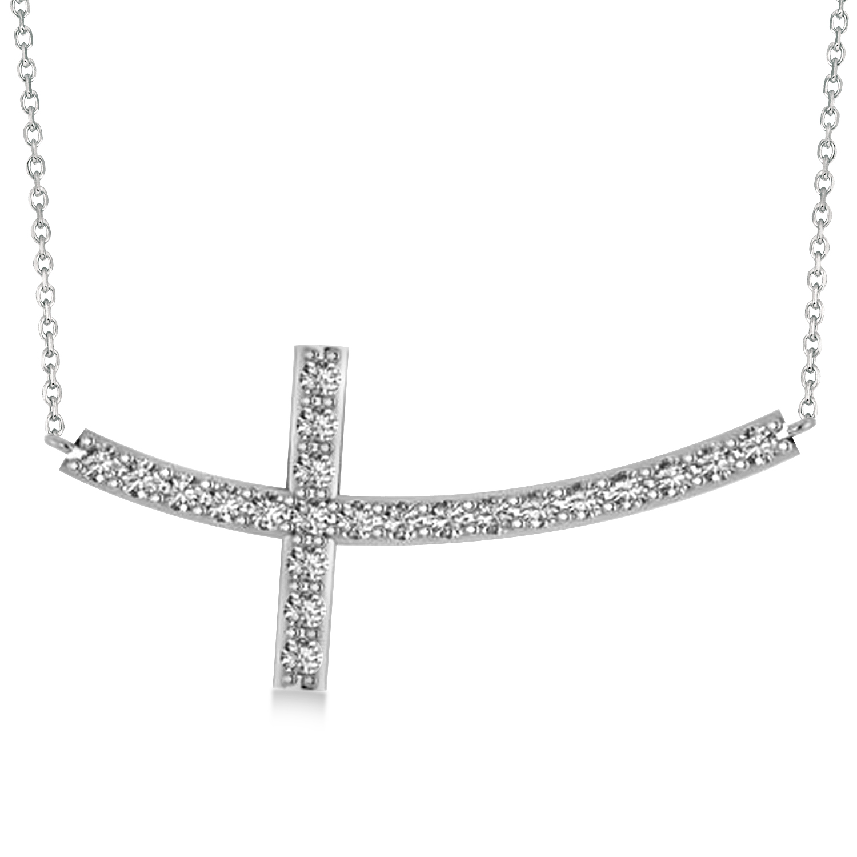 Diamond Sideways Curved Cross Pendant Necklace 14k White Gold 2.00ct