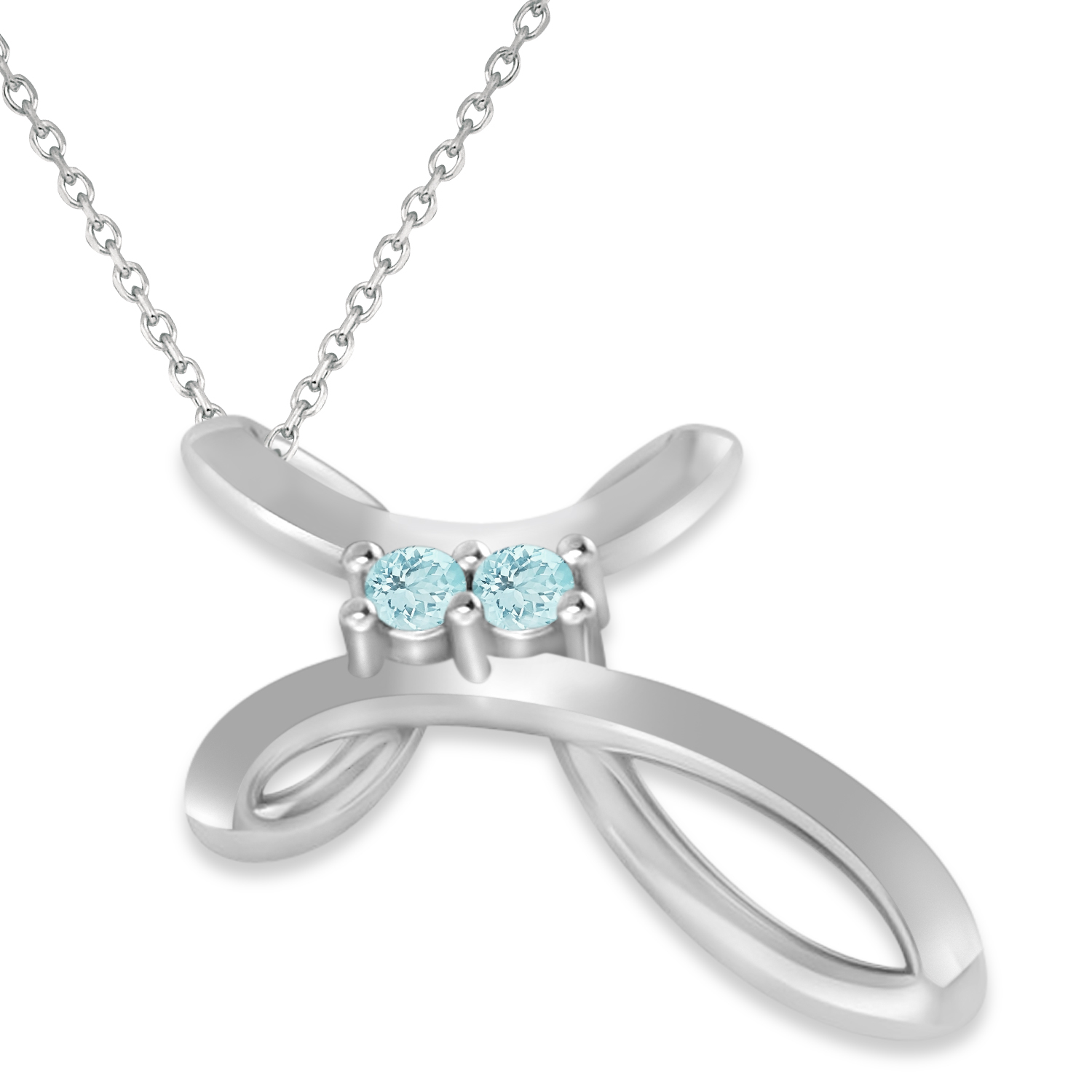 Aquamarine Two Stone Swirl Cross Pendant Necklace 14k White Gold (0.10ct)