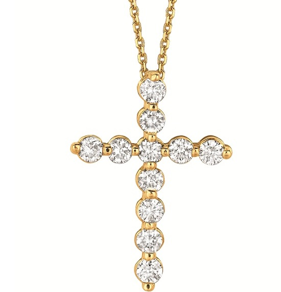 Diamond Cross Pendant Necklace in 14k Yellow Gold (1.65ct)